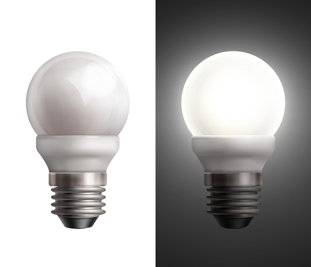 Illustrazione vettoriale con lampade a risparmio energetico spente e incandescente su sfondo bianco e nero