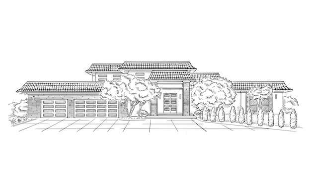 Vector illustration with wedding venue style mansion country estate architecture building sketch