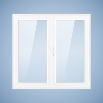 Vector illustration with white plastic window. pvc window