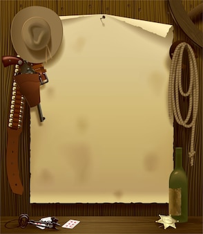 Vector illustration with a wild west relay poster in the environment of cowboy accessories
