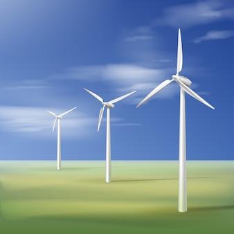 Векторная иллюстрация с ветряными турбинами на зеленой траве над голубым облачным небом