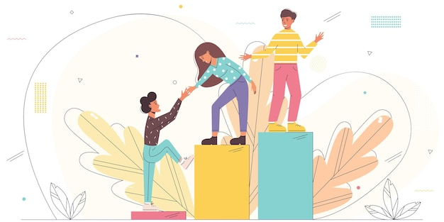 Vector illustration with young employees helping each other to climb the stairs