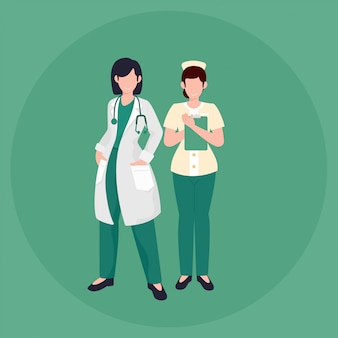 Vector illustration woman doctor and nurse flat style