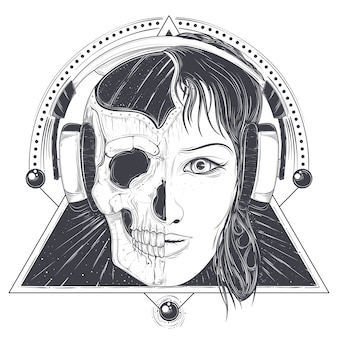 Vector illustration of a woman face and skull, tattoo template