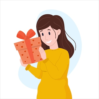 Vector illustration woman holding a gift for valentine day