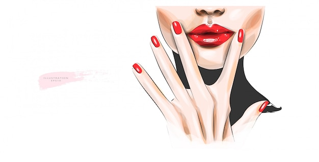 Vector illustration. woman's face with bright red lips.