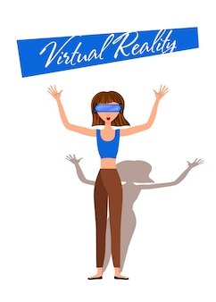 Vector illustration of woman in virtual reality headset with move controler.vr helmet.cartoon realistic people set.flat young man.