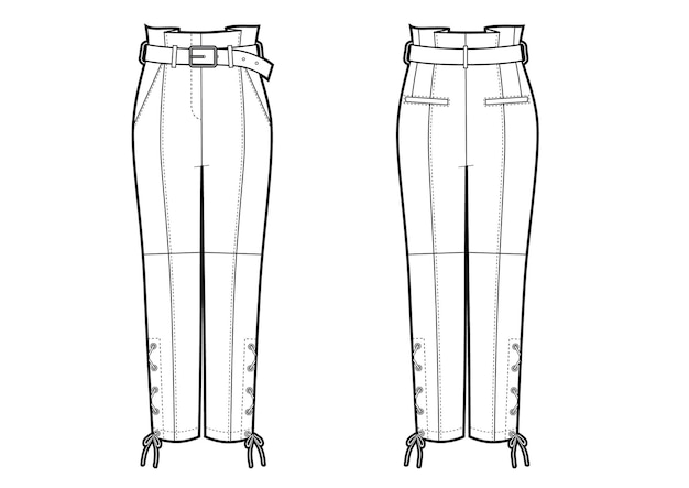 Vector illustration of women's biker leather pants. front and back views