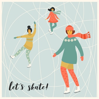 Vector illustration of women skate.