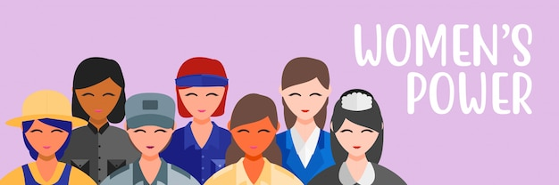 Vector illustration womens  profession job girl power