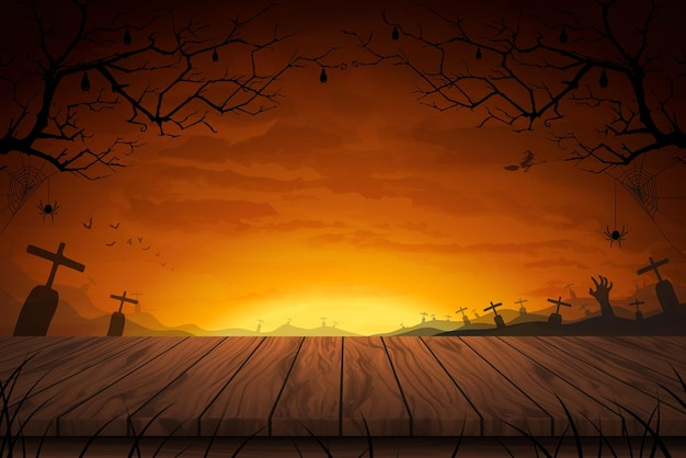 Vector illustration wood table floor with wide field grave in full moon a scary night background for halloween.