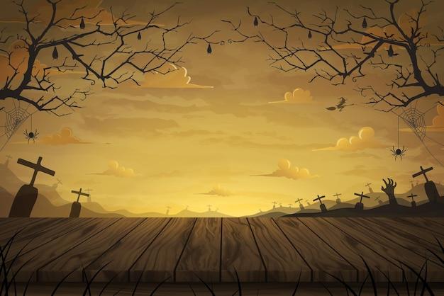 ベクトルイラスト満月の広いフィールドの墓と木製のテーブルの床ハロウィーンの怖い夜の背景。