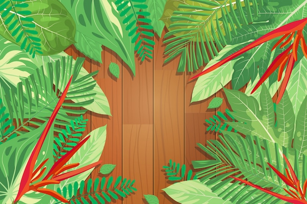 Vector illustration of wooden background with exotic tropical green leaves