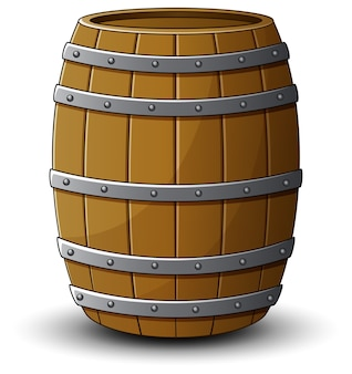 Vector illustration of wooden barrel on a white background