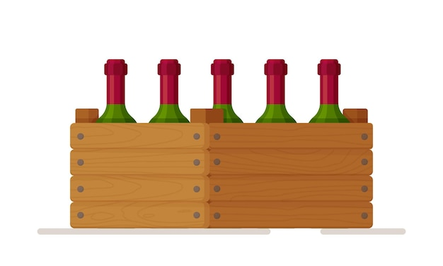 Vector illustration of a wooden box with bottles of wine