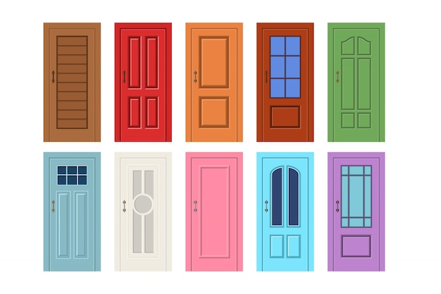 Vector illustration of a wooden door