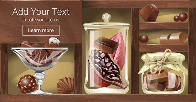 Vector illustration of a wooden rack with chocolate