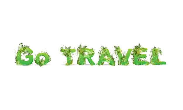 Vector illustration of word go travel stylized as a rainforest, with green branches, leaves, grass and bushes