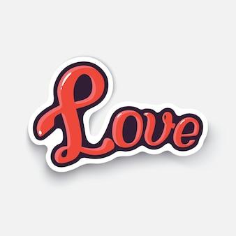 Векторная иллюстрация слово любовь день святого валентина символ любовь надпись