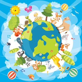 Vector illustration of world animals