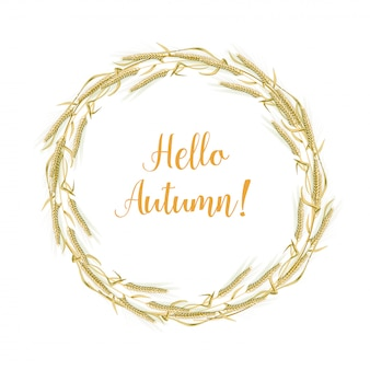 Vector illustration of a wreath made of wheat spikelets isolated on a white background with space for text.