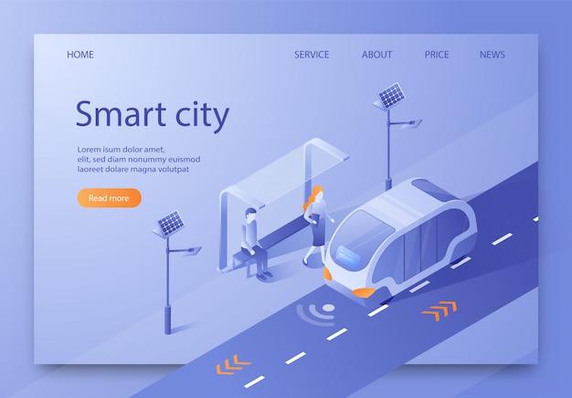 Vector illustration written smart city isometric.