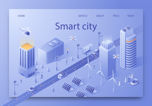 Vector illustration written smart city isometric.