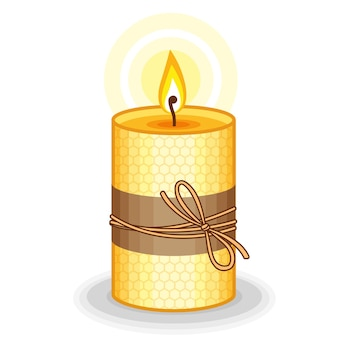 Vector illustration yellow candle handmade from beeswax. burning beeswax candlesles