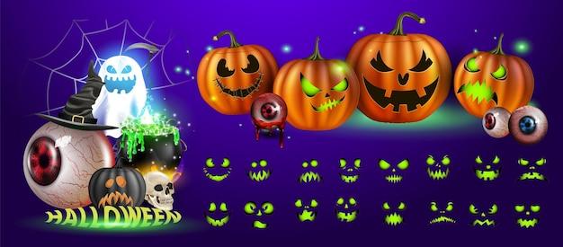 Векторная иллюстрация. желтые тыквы на хэллоуин. выражения лица джека-фонаря. люди ужаса на темном фоне