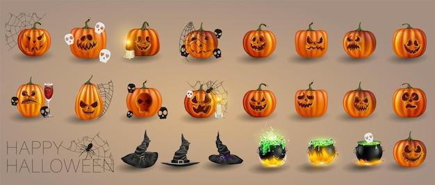 Векторная иллюстрация. желтые тыквы на хэллоуин. выражения лица джека-фонаря. люди ужаса на современном фоне