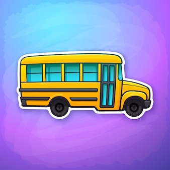 Vector illustration yellow school bus passenger transport for school back to school