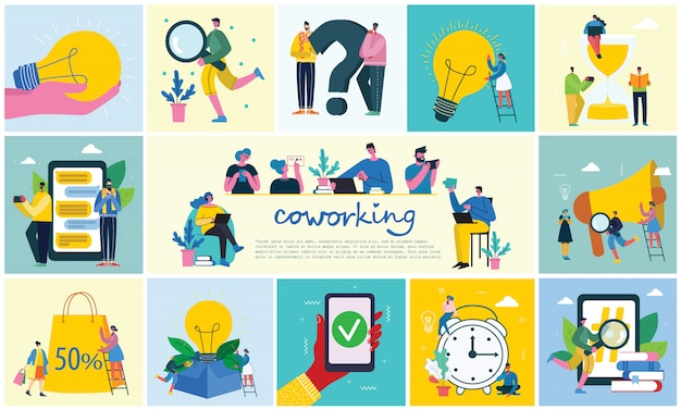Vector иллюстрация молодые взрослые люди группы встречая, работая и говоря co работая центр. совместная работа
