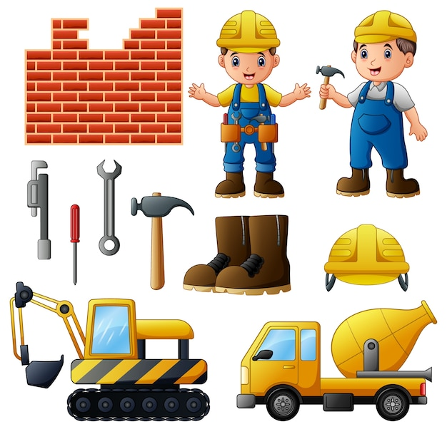Vector illustration of young builders and equipment set