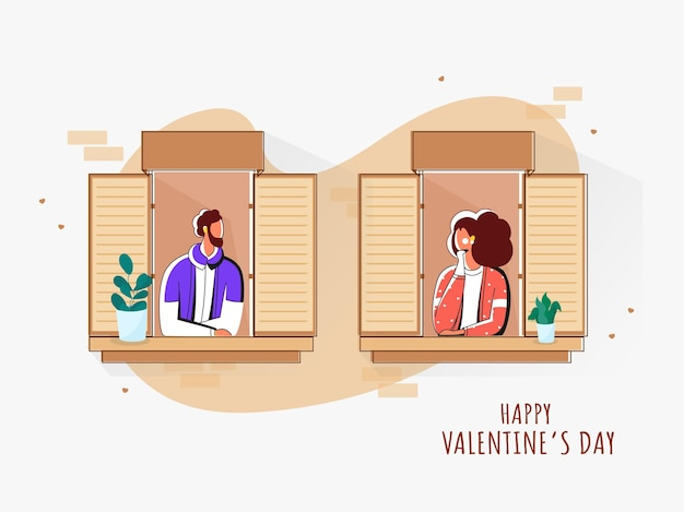 Vector illustration of young couple looking each other from their window for happy valentine's day concept.