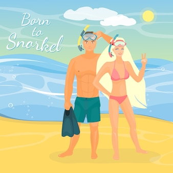 Vector illustration of young couple in snorkeling masks standing on seashore.