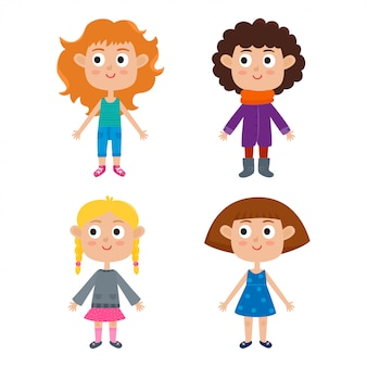 Vector illustration of young european cartoon girls body template