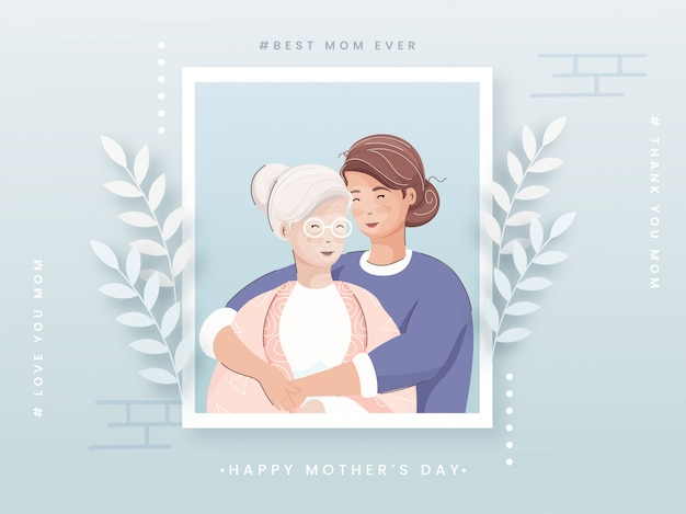 Vector illustration of young girl hugging her mother from side, beautiful grey background decorated by white paper leaves. concept for happy mother's day.