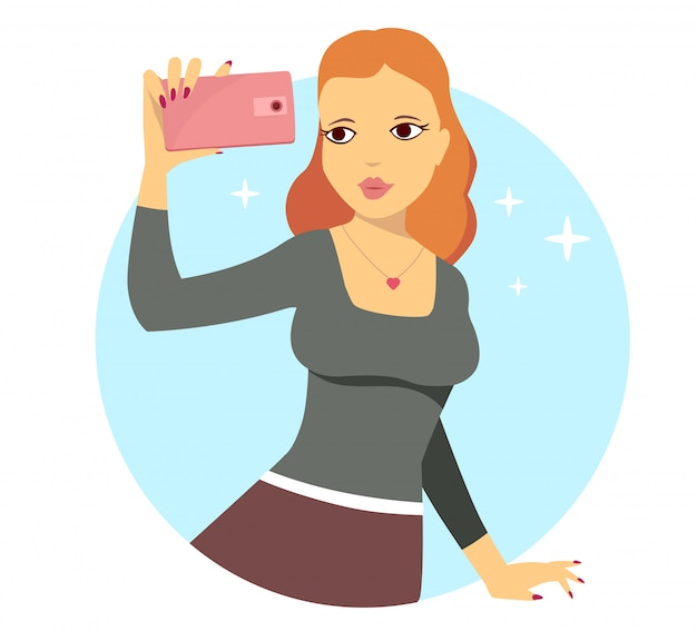 Vector illustration of young girl making selfie photo on blue background.