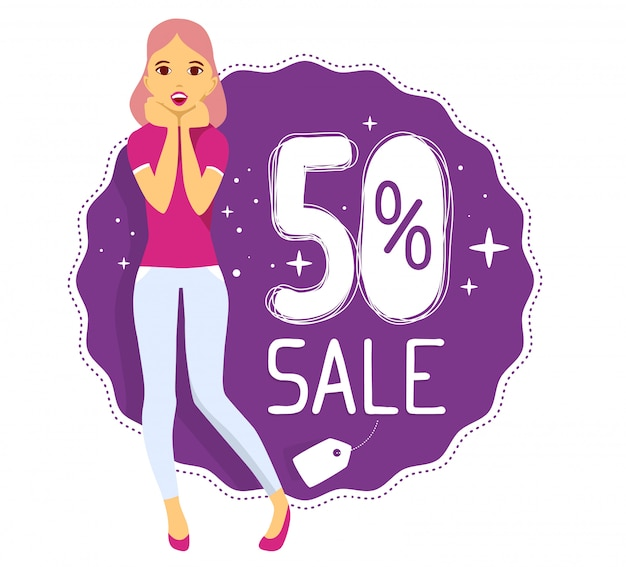 Vector illustration of young girl puts her hands near the face with text 50% sale on purple background.