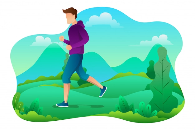 Vector illustration of young man running on a park