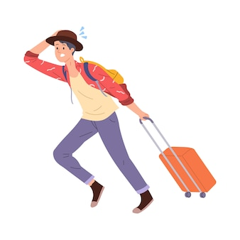 Vector illustration of a young man rushing to drag a briefcase while on his way