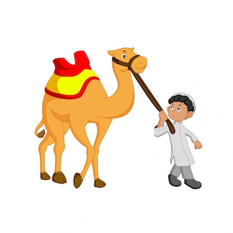 Vector illustration of young people guiding camels