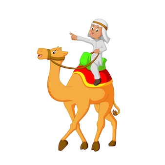 Vector illustration of young people riding camels