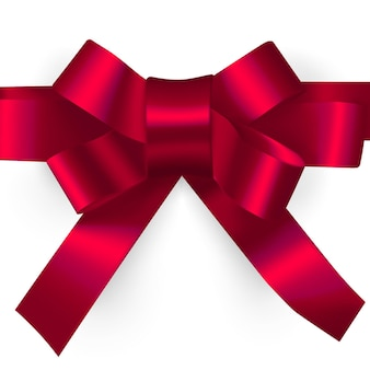 Vector illustrationdecorative red ribbon bow realistic holiday rope isolated on white background with transparent shadow