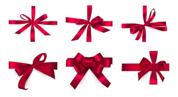 Векторная иллюстрация декоративный набор красная лента лук реалистичный праздник веревку