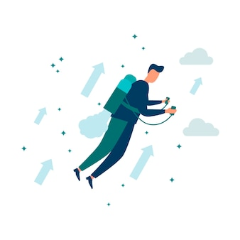 Vector illustrationmove up motivationway to achieve goalconcept of achieving a goal on a jet pack