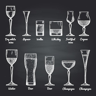 Vector illustrations of alcoholic drinking glasses on black chalkboard. vector drawing pictures