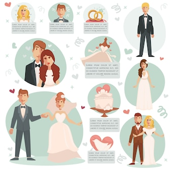 Vector illustrations bride and groom.