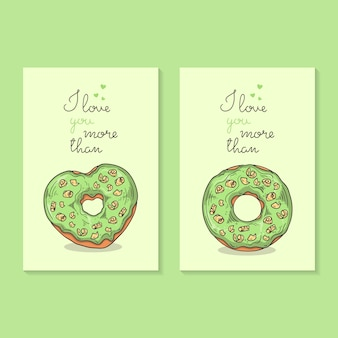 Vector illustrations. congratulations on valentine's day. cards with donuts.