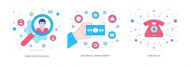 성공적인 비즈니스 확장을위한 아이콘 솔루션이 포함 된 벡터 일러스트 디자인